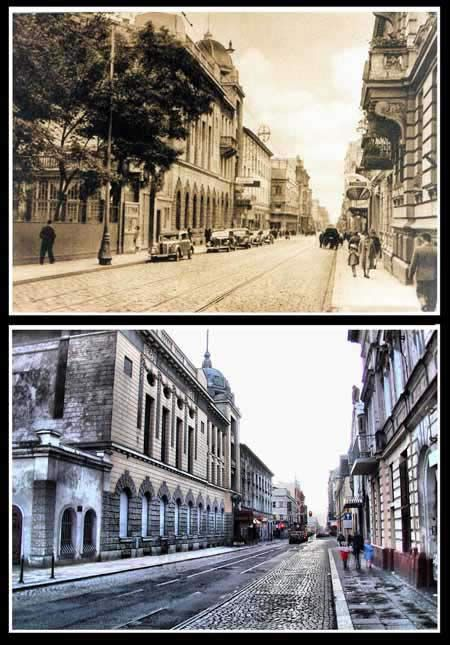 Lodz, Tuwima Street- 1940s and now