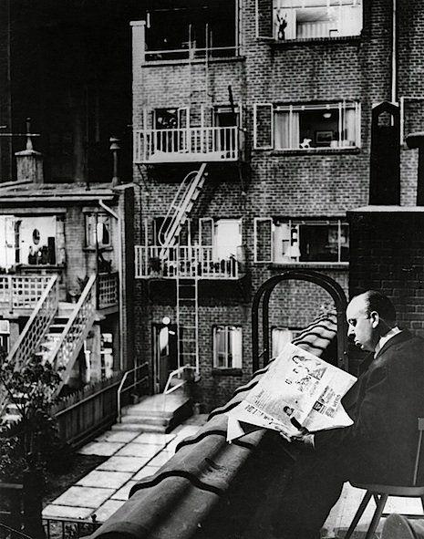 Sir Alfred Joseph Hitchcock, KBE (1899 – 1980). Hitchcock on set, Rear Window, 1954. [Pinned 27-v-2015]