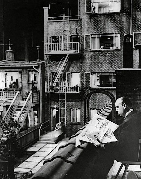 "Alfred Hitchcock in a publicity still for ""Rear Window"" (1954)."