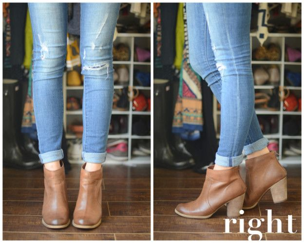 "Cuffing Boots ""Leave about an inch of ankle showing in between the jeans and boots — don't roll too much or too little."""