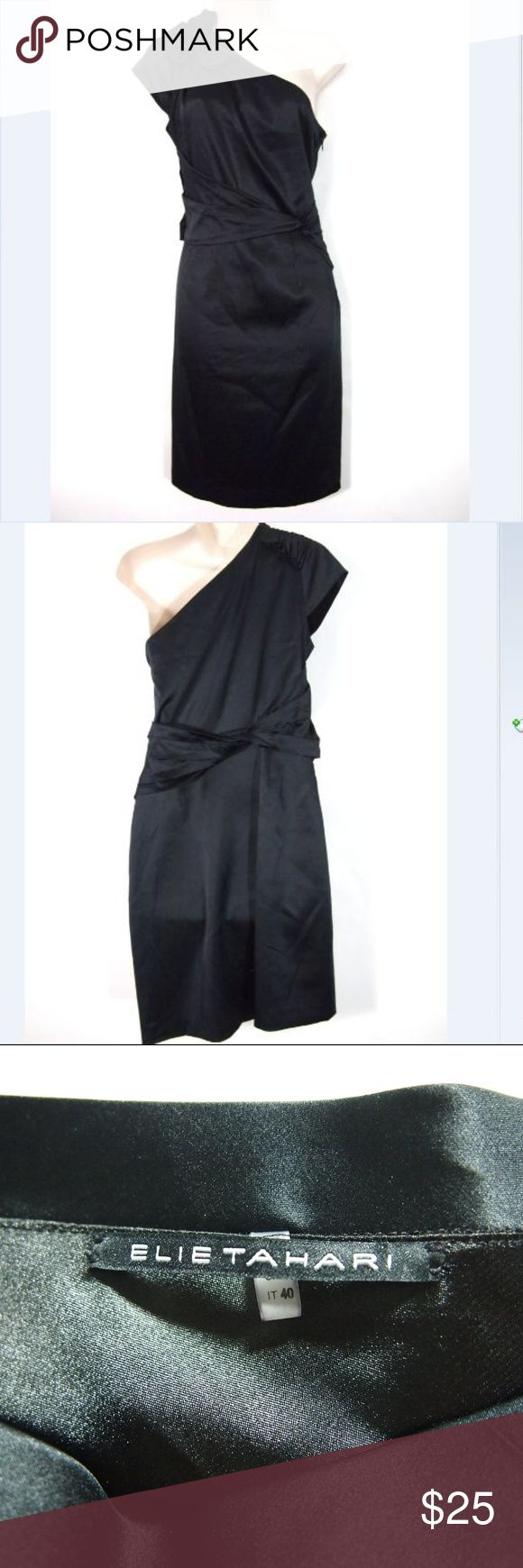 Elie Tahari Keaton 1 Shoulder Ruffle Sheath Dress Women's Elie Tahari dress  95% silk, 5% elastane  Tags indicate a women's size 4.  Condition rating is 8/10 EXCELLENT condition. Light signs of wear, no stand-out issues. Elie Tahari Dresses One Shoulder