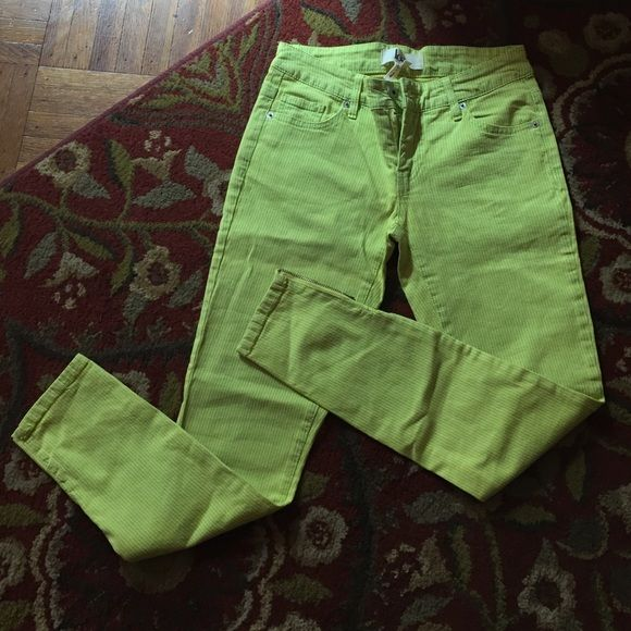 Lime green pants The cutest lime green skinny pants. They are cropped with zippers at the ankle. Still have the tags on, never worn. Just too small for me! These are a size 3. Lola Pants Skinny