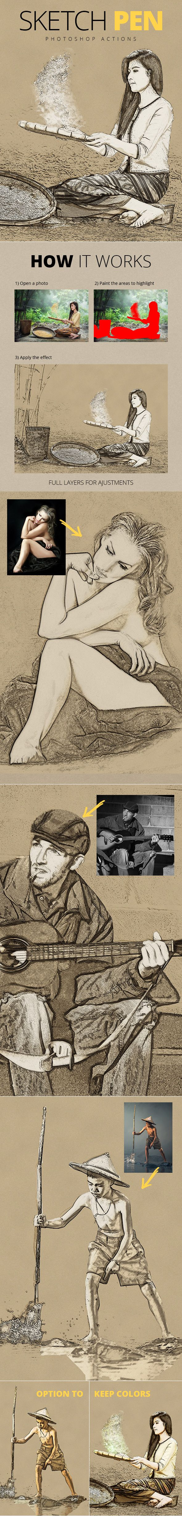 Sketch Pen Photoshop Actions - Photo Effects Actions. Download here: https://graphicriver.net/item/sketch-pen-photoshop-actions/18943311?ref=yinkira