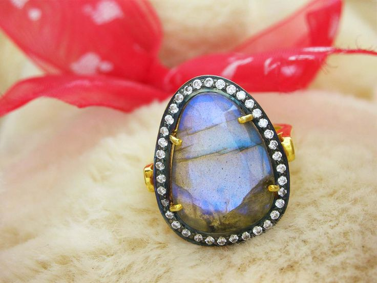 Moonstone Jewellery – Labradorite Fire Ring,Unique Gemstone Rings  – a unique product by IndianCraftPalace on DaWanda