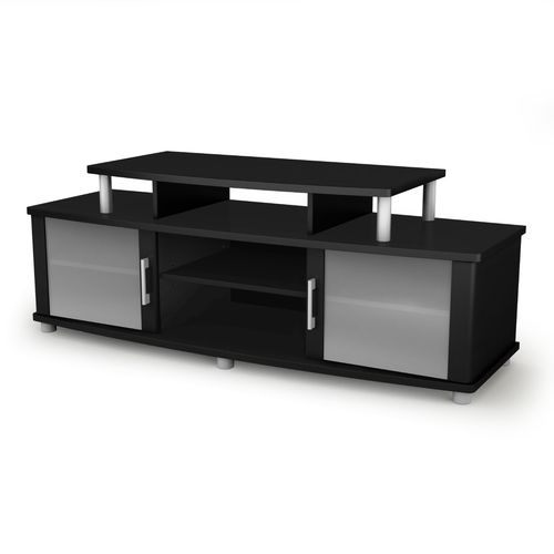 Modern TV Stand in Black Finish with Glass Doors - Fits up to 50-inch TVs