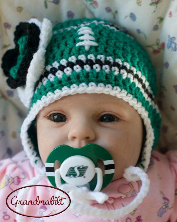 SASKATCHEWAN ROUGHRIDERS PACIFIER & Baby Girls by Grandmabilt, $32.00