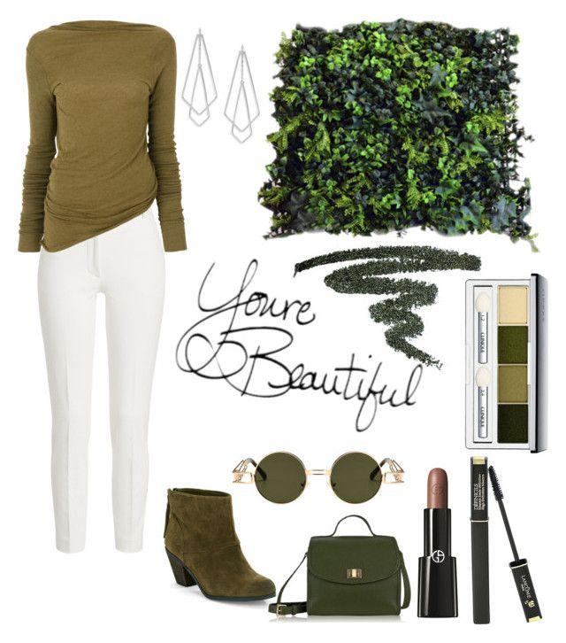"""Green Look 😘"" by peacock-style on Polyvore featuring Joseph, Rick Owens, Sam Edelman, GiGi New York, Lancôme, Clinique, Giorgio Armani and Design Lab"