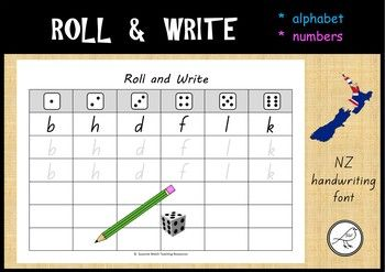 A fun activity to reinforce letter and number formation.The font used is NZ Basic Script.  The letter/number shapes are the same as those recommended in the NZ Ministry of Education Handbook  Teaching Handwriting.  Students roll a dice, look on the sheet and write the letter/number that corresponds to the number on the dice.Various templates are available to allow you to differentiate the activity for your students.Included:   Lower case letters  (a-z)  5 pages  Upper case letters  (A-Z)  5…