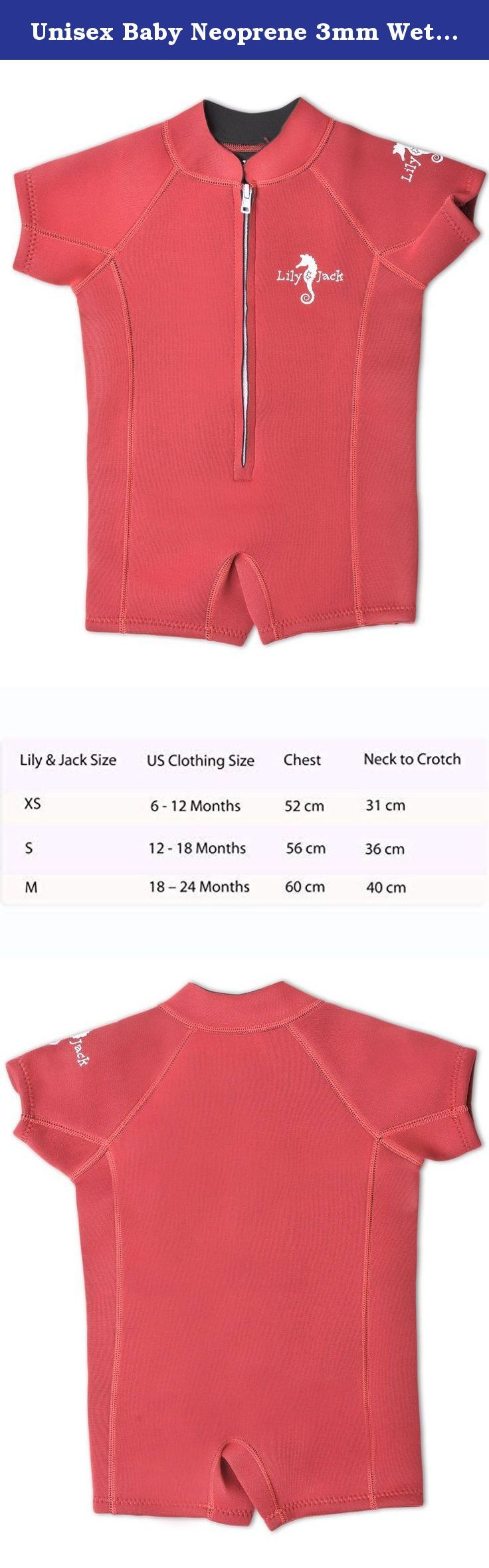 Unisex Baby Neoprene 3mm Wetsuit UV Protected Swimwear for Toddlers (Red M). Hot summer days means time outside by the pool, splashing in sprinklers, or day trips to the beach. This wetsuit is designed to keep your child warm and comfortable while still being protective of vulnerable skin that might get burned in the sun. The 80% Neoprene/ 20% Lycra material is stretchy which makes it easy to slip on and off squirming babies. The durable stitching means you don't need to worry about wear…