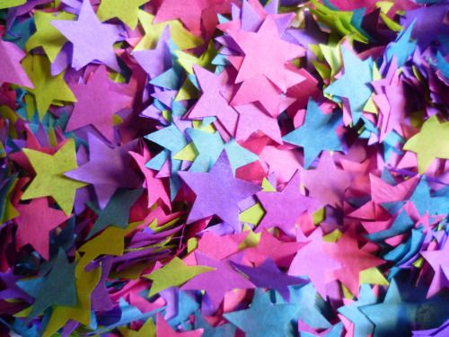 Custom star confetti - made with bio-degradable tissue Colourful wedding decorations by Paper Street Dolls