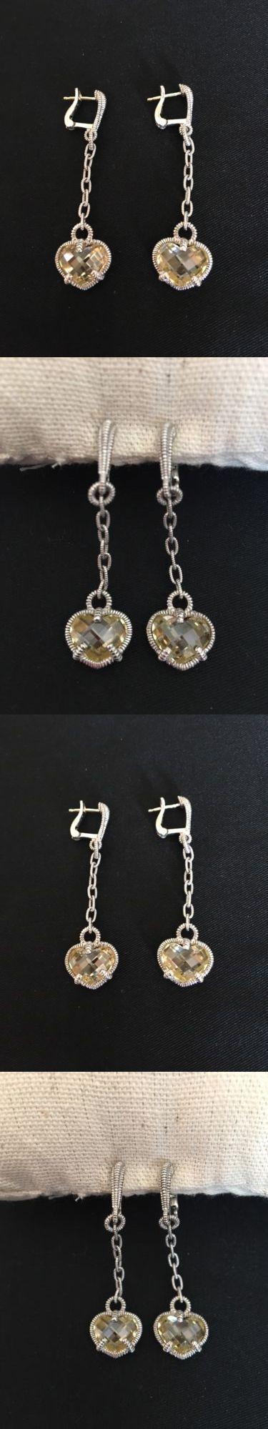 Earrings 50647: New Judith Ripka Sterling Silver Canary Crystal Heart Dangle Earrings -> BUY IT NOW ONLY: $100 on eBay!