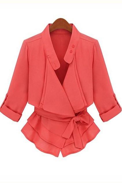 Elegant Double-layered Neckline Coat with Medium-length Sleeves