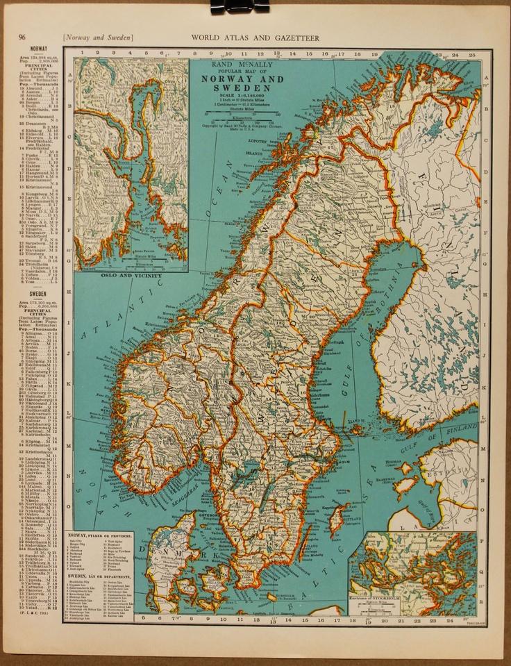 26 best viking mapsrunesresearch images on pinterest history vintage map scandinavia norway sweden denmark original 1935 1400 via etsy gumiabroncs Choice Image