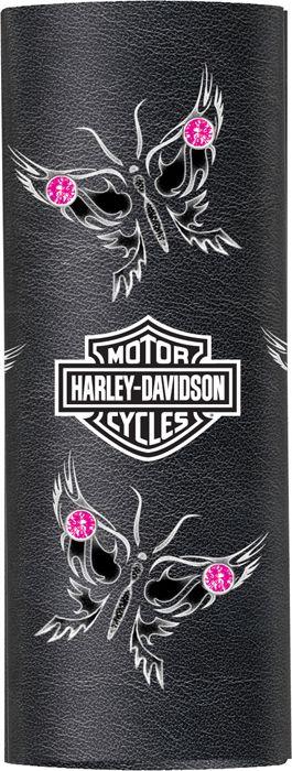 "Harley-Davidson® Womens Leather Butterflies Rhinestone 4"" Hair Glove® Ponytail Cover"