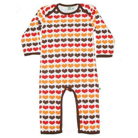Jumpsuit long sleeve, organic, white with brown/red/orange hearts and brown trims, Sture & Lisa