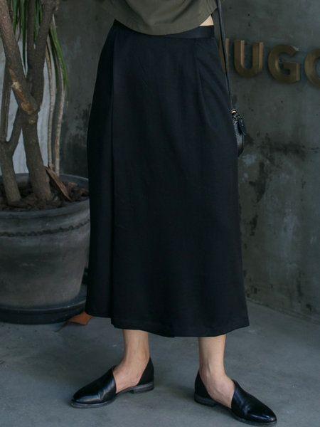 Shop Culottes Pants - Black Tencel Casual Culottes Pant online. Discover unique designers fashion at StyleWe.com.