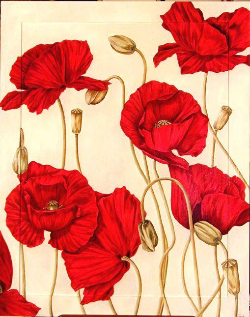 Archive Sophie Coryndon Field Poppy Oil on Board 5x4ft