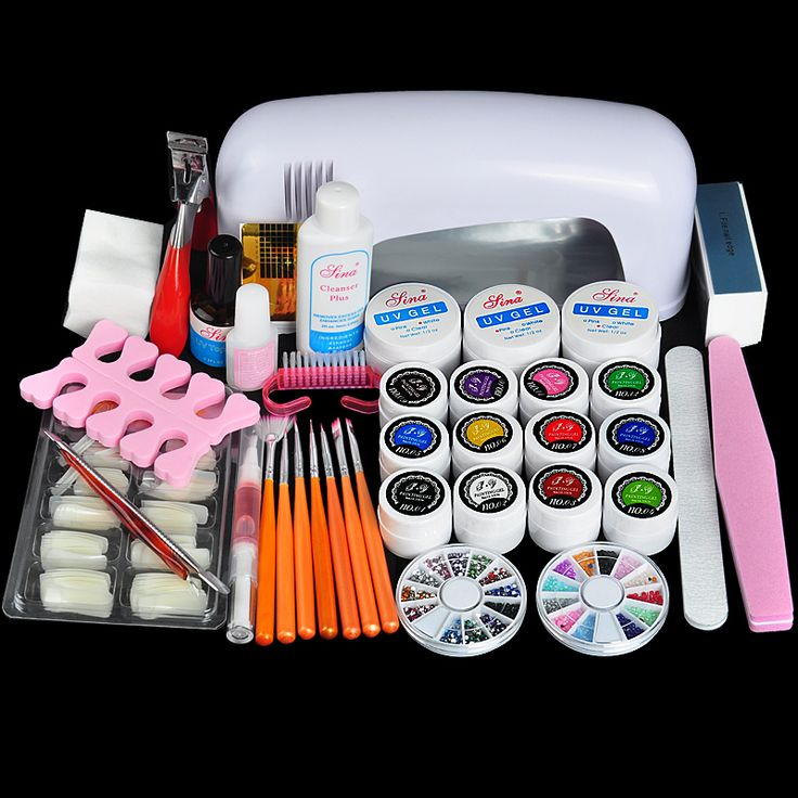 Professional Full Set UV Gel Kit Nail Art Set + 9W Curing UV Lamp Dryer Curining Manicure Tools