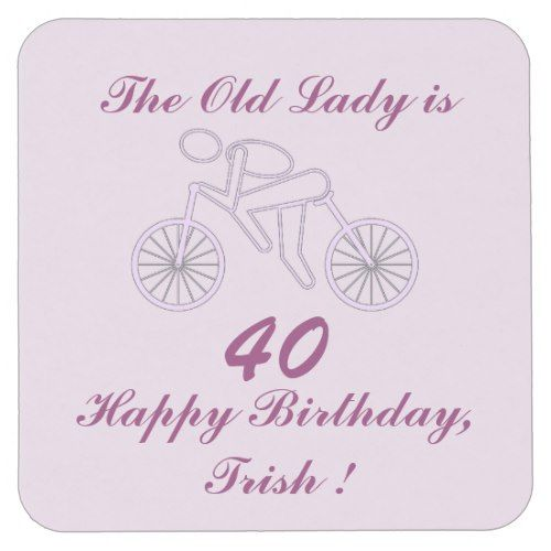Funny Ladies Cycling Exercise Happy Birthday Party Square Paper Coaster