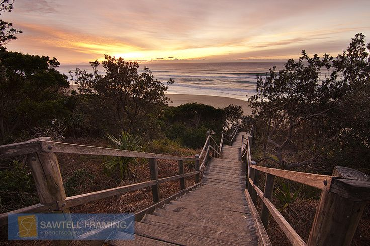 Stairway Sunrise – Murray's Beach Sawtell NSW Australia. Looking straight down the stairway that leads to the Murray's end of Sawtell Beach at sunrise.
