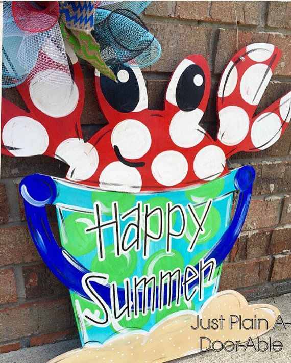 summer door hanger sandbucket door hanger crab door hanger