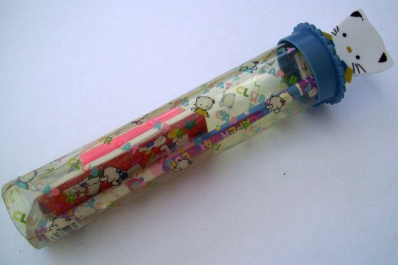 Blue Caper Cat Pencil Set. Kawaii Manga Cat. Anime by JirjiMirji, €13.90