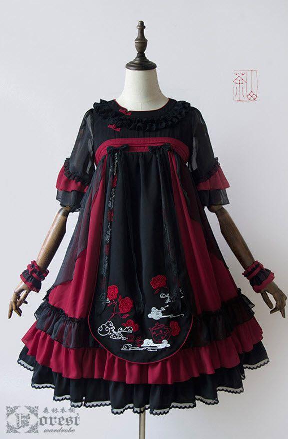 Forest Wardrobe -Camellia- Embroidery Qi Lolita High Waist OP Dress