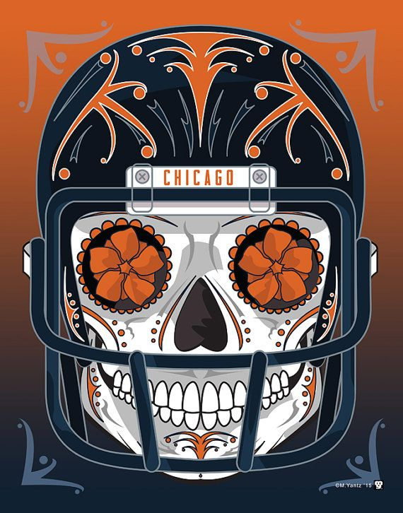 """""""Chicago Bears"""" Sugar Skull Day of the Dead Calavera Print Inspired by the professional football team"""