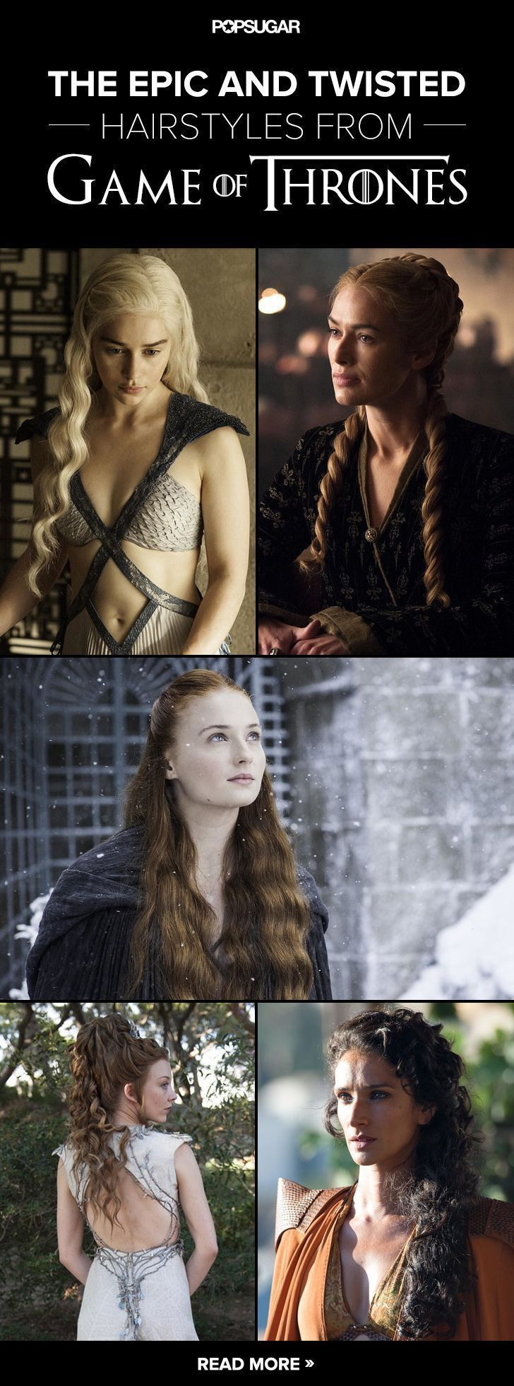 You may be hooked by the intricate plot turns and magical mystery of Game of Thrones, but it's partly the woven and twisted hairdos that keep us coming back. Since it's easy to miss a great hairstyle when you're focused on the show's shocking plot, we've rounded up some of the most intricate styles from the series. Brace yourself for all the (hair) twists and turns of season five! These braids are so complex, you'll need a lady-in-waiting to assist.