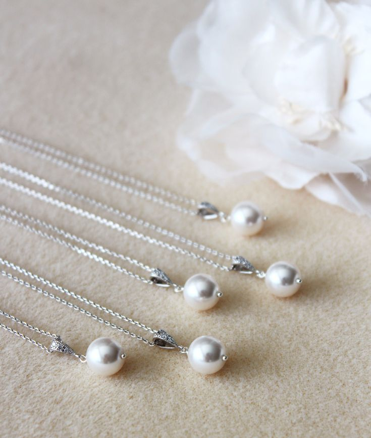 Bridesmaid Necklace Set of 5,6,7,8,9,10,11,12 Bridesmaid Gift Set Single Pearl Necklace Wedding Gift Ideas Briesmaid Jewelry Set