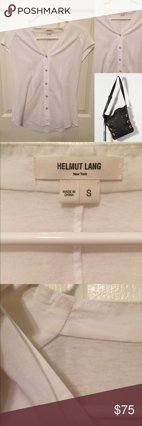 Helmut Lang breezy white button down One small blemish as shown in last photo I have not tried to remove it and it is hardly noticeable. Otherwise in beautiful condition. ❌trades or off-site transactions.I offer a variety of sizes in my closet therefore I do NOT model items.•I will counteroffer with the best value I can offer•I have 2 littles &🚑 an illness that sometimes requires serious medical attention 📬shipping may take a little longer because of my illness but usually I get it out…