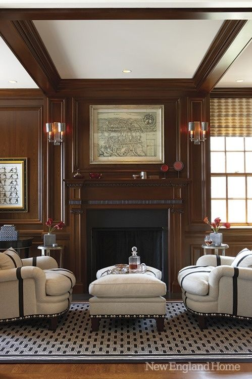Love this tip explaining how to create afresh, light look in an interior with dark wood paneling. (Hint: it involves white ;-)