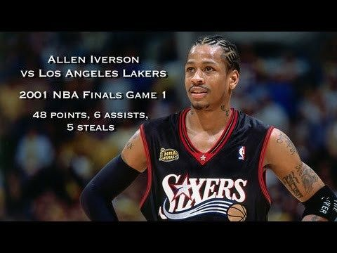 Allen Iverson vs Los Angeles Lakers: 2001 NBA Finals Game 1 Full Highlights - 48 points & 6 assists - http://www.truesportsfan.com/allen-iverson-vs-los-angeles-lakers-2001-nba-finals-game-1-full-highlights-48-points-6-assists/