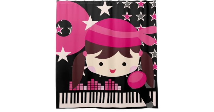 Dark Haired Girl Rock Star Music Karaoke Shower Curtain