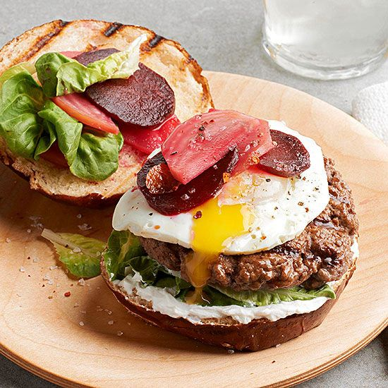 Burger recipes topped with a fried egg are making quite the splash at corner bistros. This recipe shows you how to bring the trend home -- with a few extra touches for even more impact!/