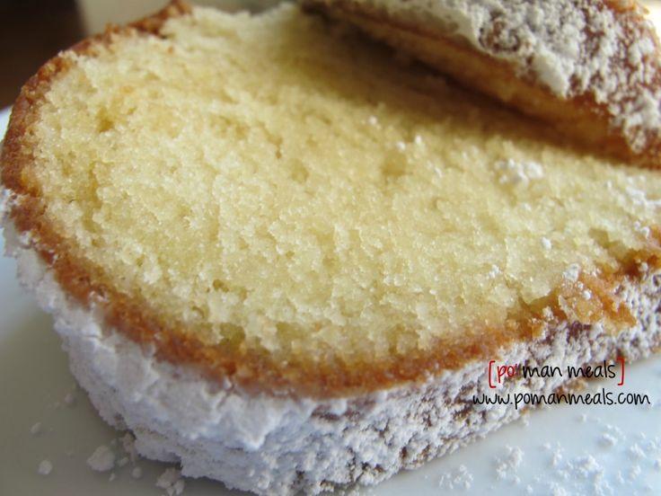 vanilla yogurt cake I don't have any powdered sugar so I'm going to make this lemon flavored with a lemon butter sugar glaze. Yum!!