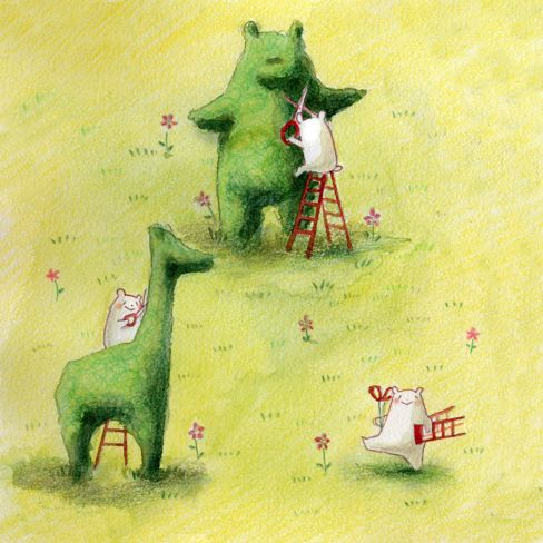 """Eriko Kurita (In the Pocket), """"庭師さん"""" (""""The Landscaper""""). Oh my goodness, is this great. That bear looks SO happy with himself--and rightly so! :D"""