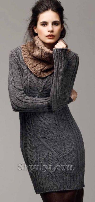 Платье с рельефами и шарф, вязаные спицами