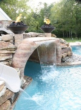 Poo and spa project has everything - rustic - Pool - Philadelphia - Teds Pools