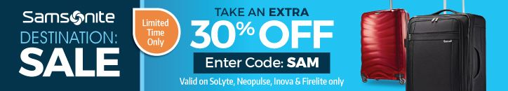 30% Off Select Samsonite Luggage! Irvs Luggage Coupon #coupon #deals #code