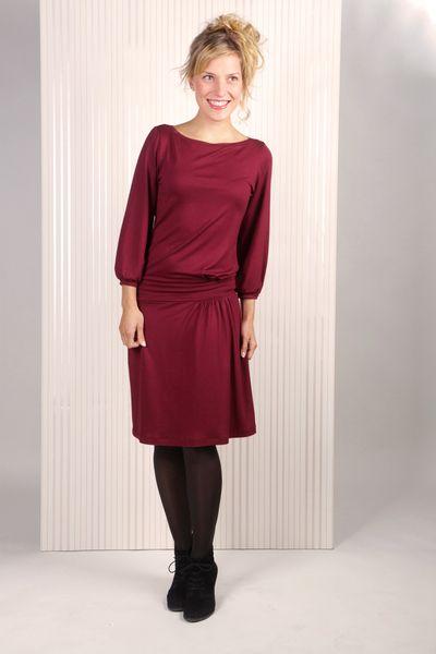 Knielange Kleider - Liv Kleid bordeaux - ein Designerstück von Mirastern bei DaWanda