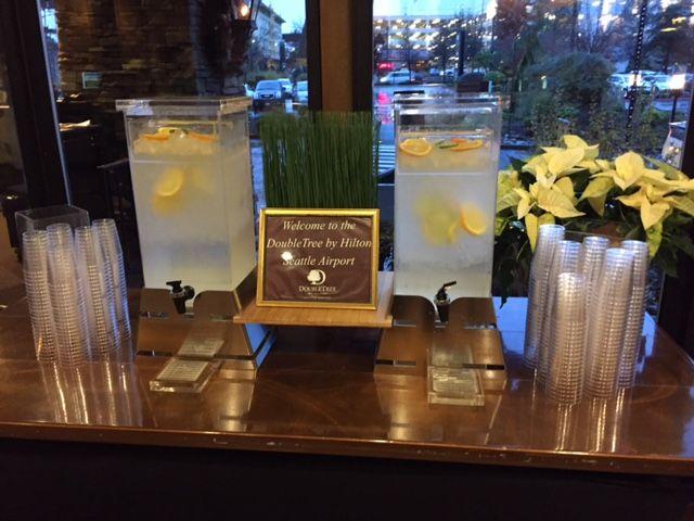 Rosseto's Pyramid Beverage Dispenser making a statement in Seattle. #beverage #dispenser #lobby