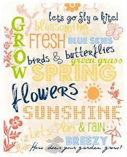 Spring: Decor Kitchens, Kitchens Design, Subway Art, Summer Picnics, Interiors Design Kitchens, Spring Fever, Words Art, Spring Printable, Free Printable