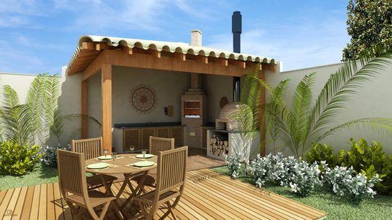 Quiosque estruturado em madeira e telha colonial, com churrasqueira, forno de pizza, deck externo, é uma solução bem econômica e aconchegante