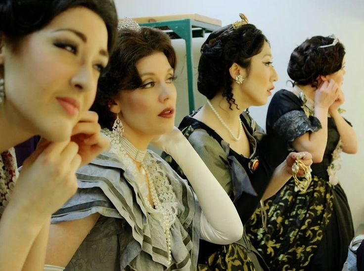 Sable Chan (2nd from R) gets ready for Edmonton Opera's 'Lucia di Lammermoor'