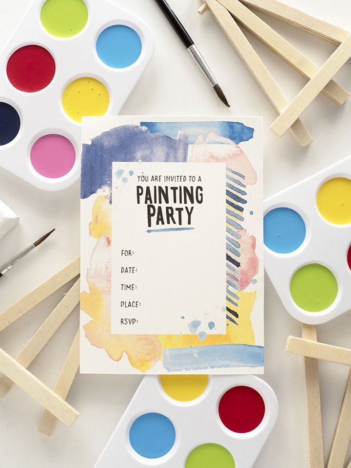 This is a picture of Free Printable Paint Party Invitations pertaining to 70th birthday party