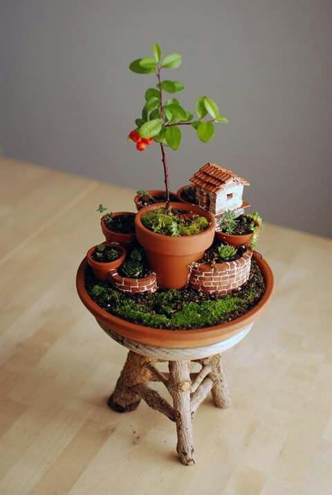Mini Garden in a mini pot. Garden with  a tree and a tiny house.