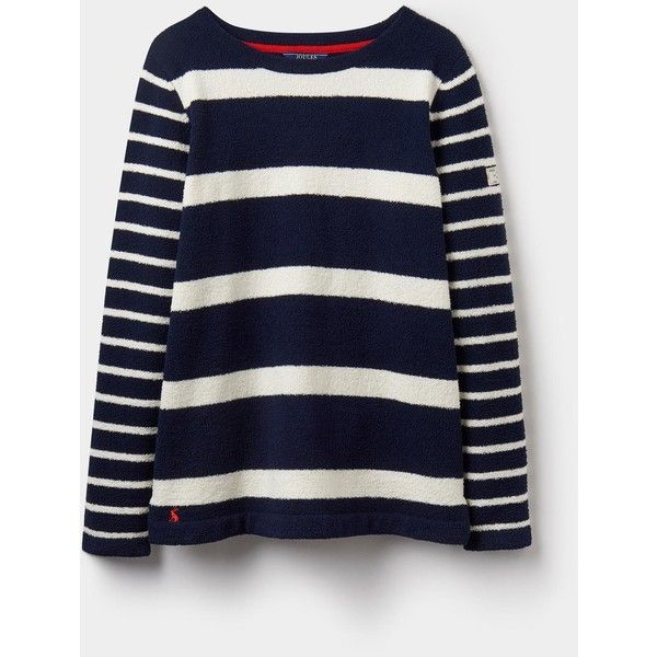 Seaham French Navy Wide Stripe Chenille Sweater | Joules US ($70) ❤ liked on Polyvore featuring tops, sweaters, navy top, joules tops, joules sweater, navy blue sweater and navy blue top