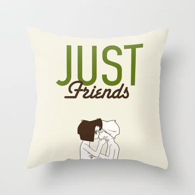 Anti Valentine' s day. Just friends Throw Pillow by Spyros Athanassopoulos - $20.00  #pillow #kiss #friends #fabric