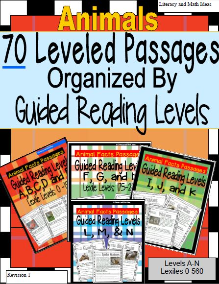 Save hours of planning time.  This bundle includes 5 passages per guided reading level.  The Lexile level is also written on each nonfiction passage.  Follow the link to also access the first ever leveled task cards--Guided Reading Made Easier---